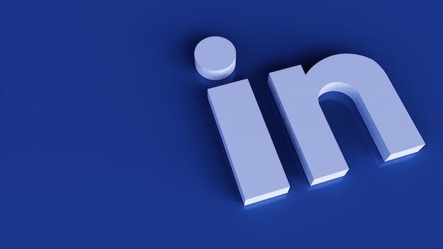 Modelo de design simples mínimo do logotipo do linkedin. copiar espaço 3d