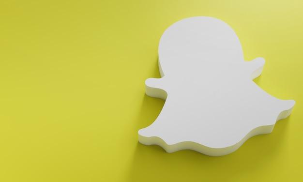 Modelo de design simples mínimo do snapchat logo. copie o espaço 3d