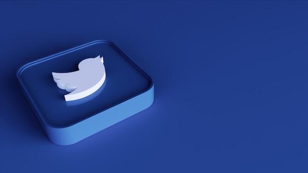 Modelo de design simples mínimo quadrado logotipo do twitter. cópia espaço 3d render