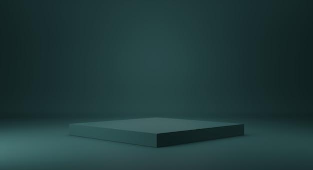 Modelo de estúdio e display de pedestal verde maré para prateleira de produtos. design de interiores de quarto vazio verde escuro com pódio para publicidade. renderização 3d.