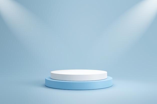 Modelo de estúdio e pedestal branco de forma redonda na parede azul clara com prateleira de produtos em destaque. pódio de estúdio em branco para publicidade de produtos. renderização em 3d.