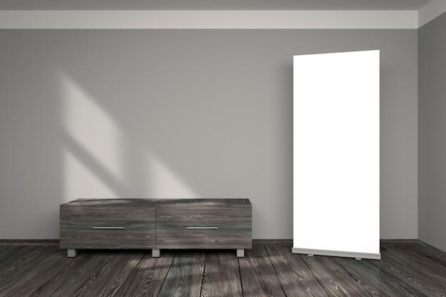 Modelo de exibição de stand de rollup de promoção em branco em sala interna cinza para branding e design
