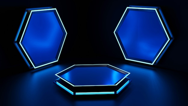 Modelo de hexágono de brilho de estilo sci-fi de plataforma de renderização 3d.