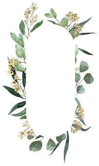 Modelo de hortaliças de verão em aquarela. moldura de folhas verdes e douradas de eucalipto
