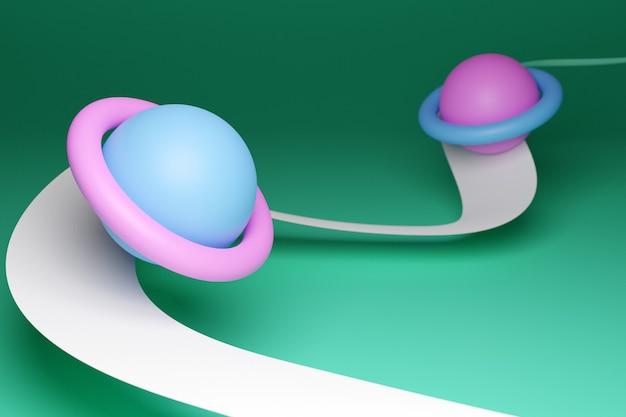 Modelo de ilustração 3d de um sistema solar com planetas em órbita com órbitas sobre fundo azul. formas geométricas simples.