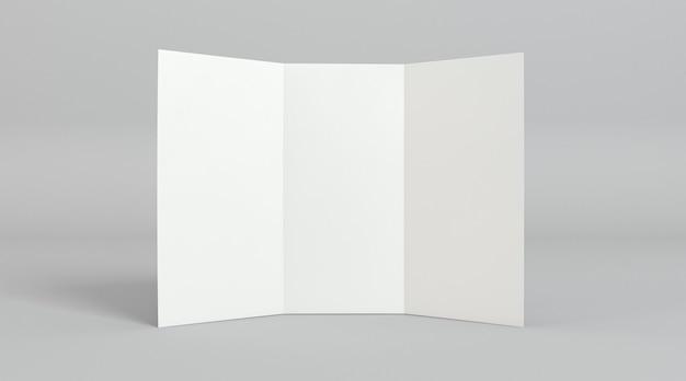 Modelo de impressão de folheto com três dobras de vista frontal