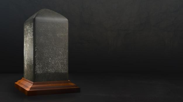 Modelo de inscrição de pedra maquete cópia espaço modelo fundo escuro tailandês