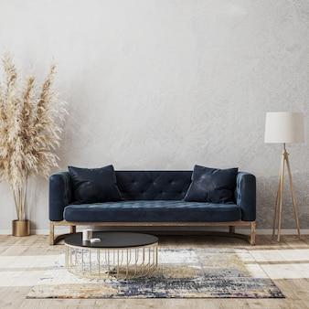 Modelo de interior luxuoso de sala de estar moderna com sofá azul escuro