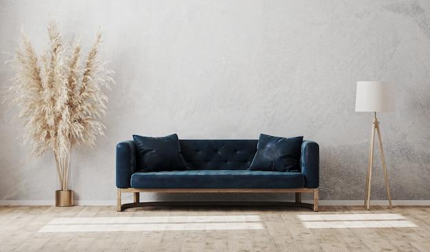 Modelo de interior luxuoso e moderno de sala de estar com sofá azul escuro, luminária e vaso no piso de madeira com parede cinza claro, maquete de parede vazia, renderização em 3d