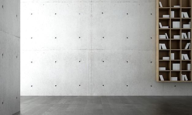 Modelo de interior moderno e aconchegante de sala de estar, fundo de parede de concreto vazio e estante de livros, estilo escandinavo, renderização 3d