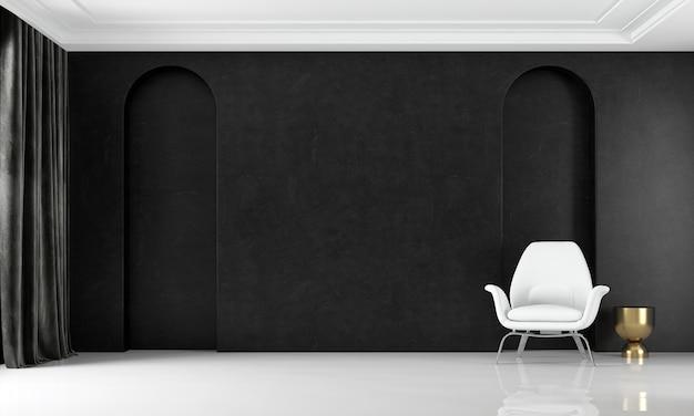 Modelo de interior moderno e aconchegante de uma sala de estar luxuosa e parede preta de fundo