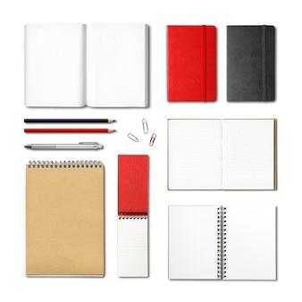 Modelo de livros e cadernos de papelaria