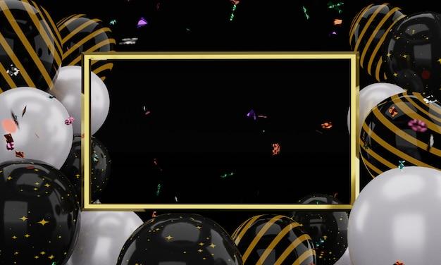 Modelo de moldura de ouro realista de renderização 3d. balões de ar preto e branco flutuantes