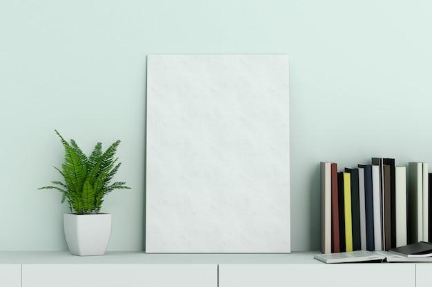 Modelo de moldura de tela em branco na sala de estar azul hortelã com pequena árvore e livro