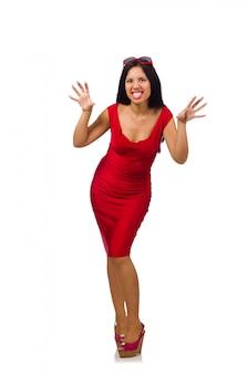 Modelo de mulher legal isolado no branco