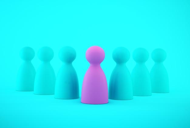 Modelo de pessoas cor-de-rosa que se destaca da multidão recursos humanos, gestão de talentos, empregado de recrutamento, líder de equipe de negócios bem sucedido.