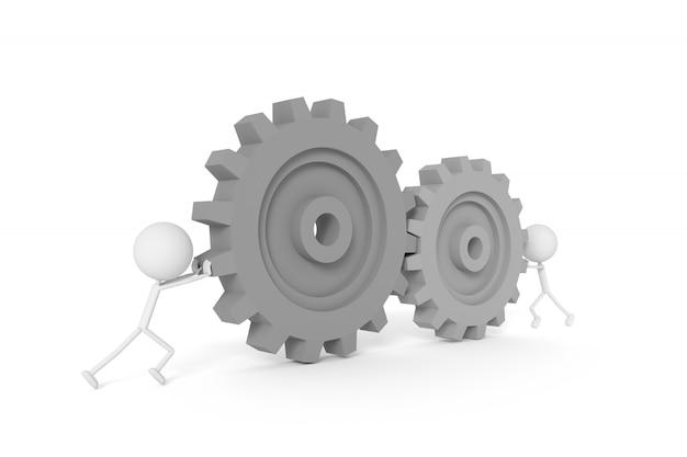 Modelo de pessoas e engrenagens de máquina com o conceito de trabalho em equipe. renderização em 3d.