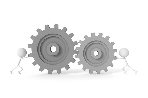 Modelo de pessoas e engrenagens de máquina com o conceito de trabalho em equipe