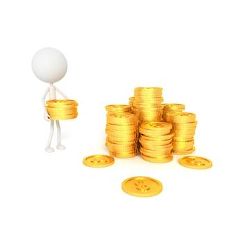 Modelo de pessoas e moedas do dólar com o conceito de poupança