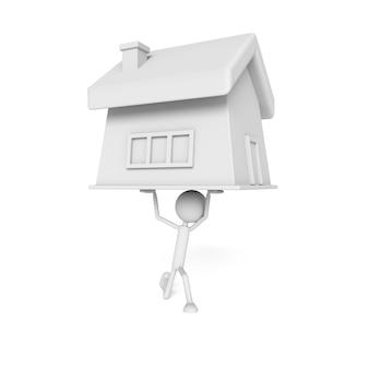 Modelo de pessoas elevar a casa com o conceito de devedor