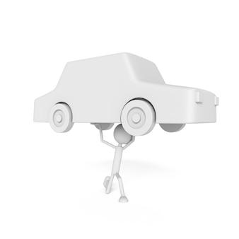 Modelo de pessoas elevar o carro com o conceito de devedor