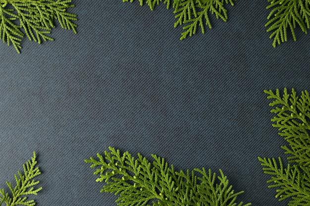 Modelo de plano de fundo de natal com moldura de ramos de abeto. vista plana leiga