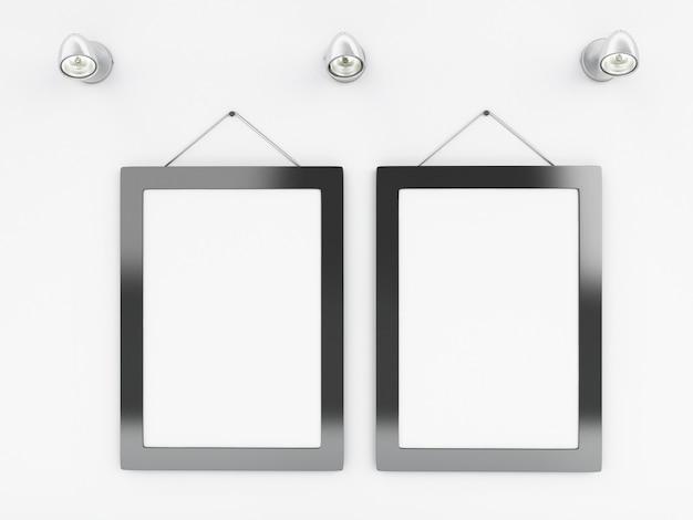 Modelo de quadros vazios 3d com lugar para o seu texto e design