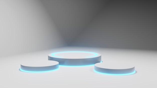 Modelo de renderização 3d, renderizações de estágio de renderização abstrata fluorescente branca.