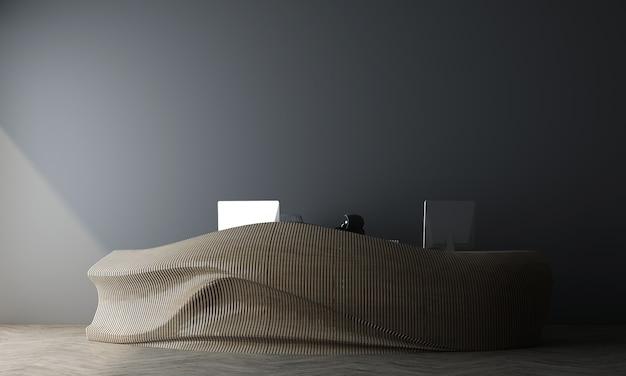 Modelo de salão de recepção com interior moderno e aconchegante, decoração de balcão de madeira na sala de estar azul, renderização 3d