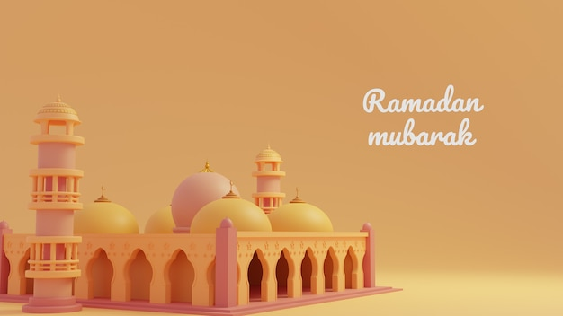 Modelo de saudação ramadan kareem com mesquita muçulmana no fundo do ornamento dourado
