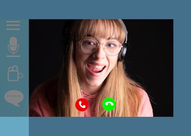 Modelo de tela de chamada de vídeo. chamada online, plataforma de videochamada