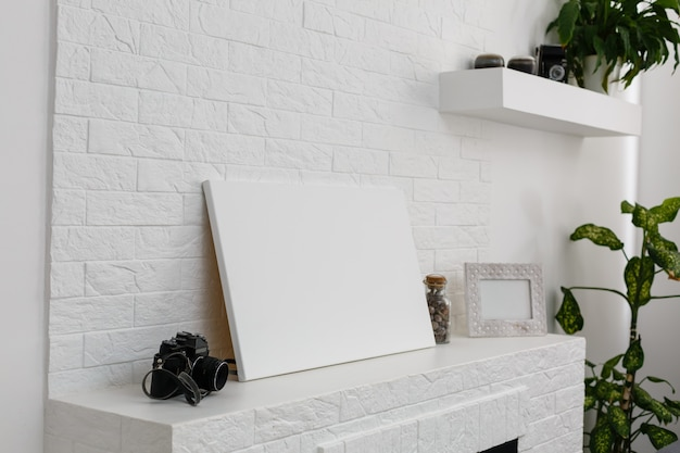 Modelo de tela de foto em branco, foto feita em loft