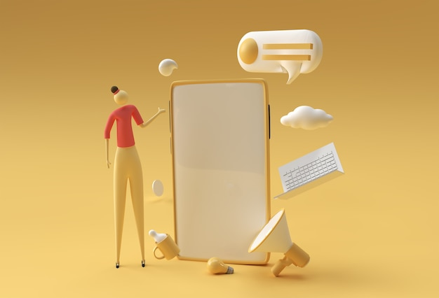 Modelo de tela em branco do smartphone mulher mão apontando o dedo. maquete na moda na moda abstrata. renderização 3d do aplicativo móvel do telefone em branco.