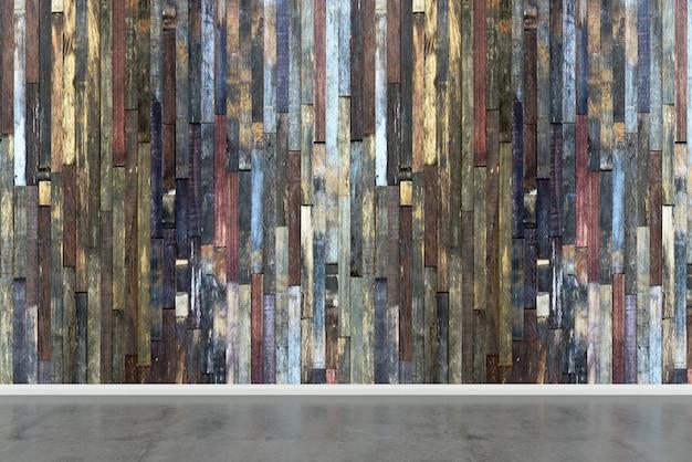 Modelo de textura de fundo de piso de madeira branca parede de concreto mock up