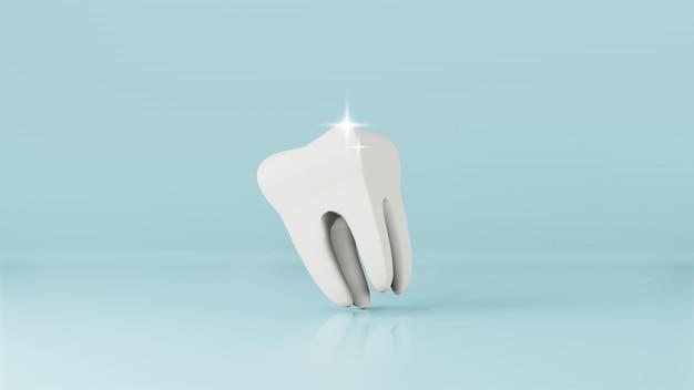 Modelo dentário de renderização em 3d de dente pré-molar