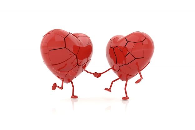 Modelo do coração com conceitos desolados. renderização em 3d.