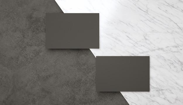 Modelo elegante de dois cartões de visita pretos modernos para identidade de marca