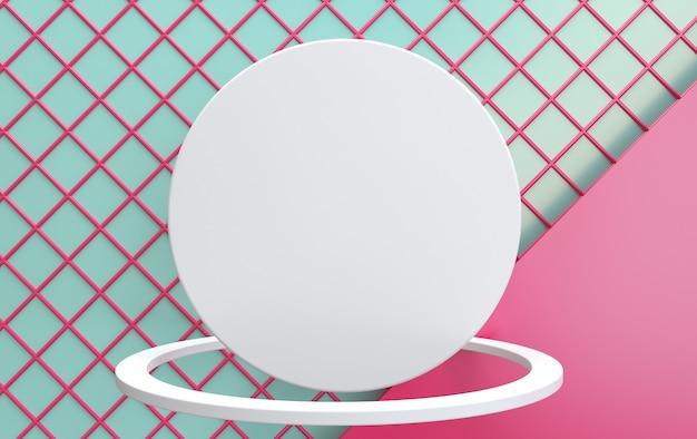 Modelo em branco para flyer ou propaganda. o círculo branco no ringue em um fundo de células cor de rosa. logotipo em branco na forma de um círculo com um anel. renderização em 3d