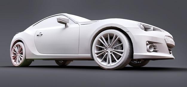 Modelo esportivo compacto feito de plástico fosco. cupê de carro da cidade. carro esportivo juvenil. ilustração 3d.