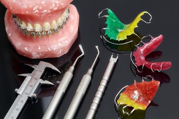 Modelo humano de mandíbula ou dentes com aparelho dentário e ferramentas