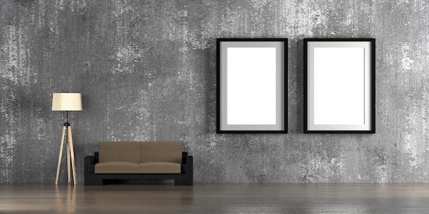 Modelo interior com rendição vazia das molduras para retrato 3d.