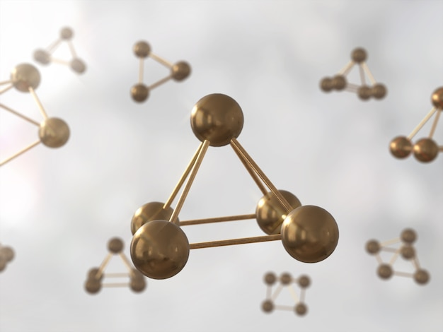 Modelo molecular do adn do átomo da ciência estrutura, átomo dourado. renderização em 3d
