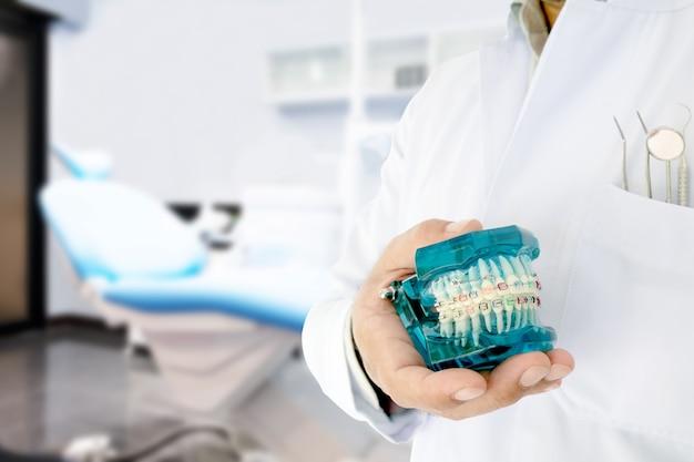 Modelo ortodôntico da mostra do dentista em sua mão / no escritório ou na clínica.