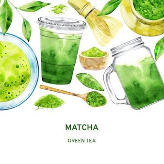 Modelo para chá verde matcha
