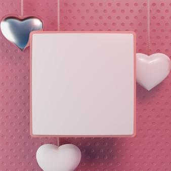 Modelo quadro pós instagram fundo corações rosa