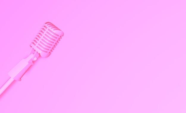 Modelo rosa glamoroso com microfone vintage ilustração 3d da capa retro do projeto do microfone