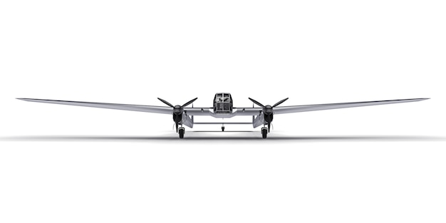 Modelo tridimensional da aeronave bombardeiro da segunda guerra mundial. corpo de alumínio brilhante com duas caudas e asas largas. avião cinza brilhante sobre uma superfície branca