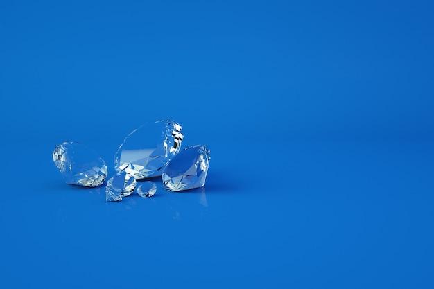Modelos 3d de gemas de vidro em um fundo azul isolado. gemas transparentes brilhantes, gráficos 3d. fechar-se