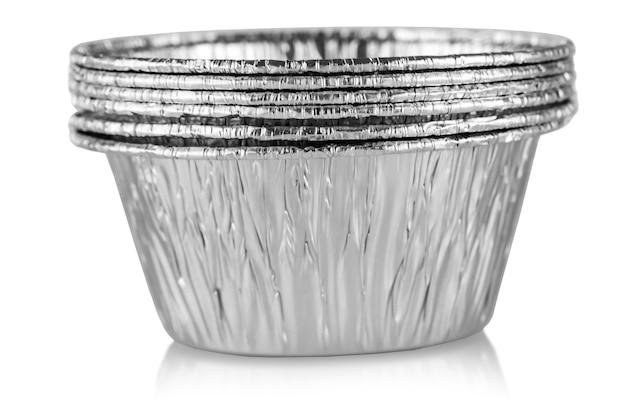 Modelos de alumínio brilhantes para torta e pão vazios
