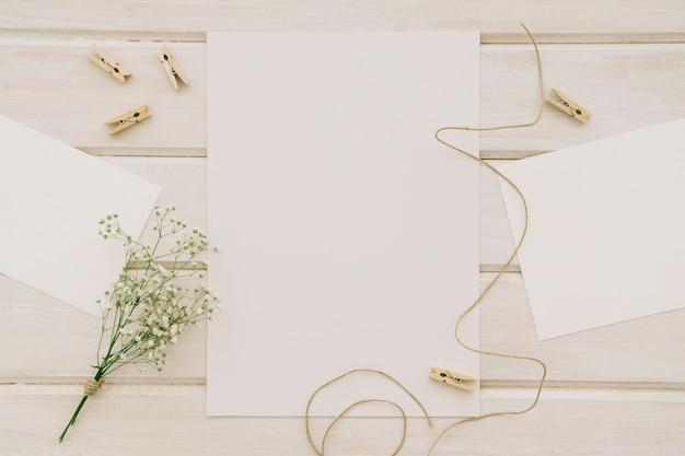Modelos, flores, cordões e pinças de roupa